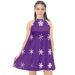 Purple Flower Floral Star White Halter Neckline Chiffon Dress