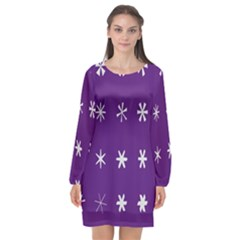 Purple Flower Floral Star White Long Sleeve Chiffon Shift Dress  by Mariart