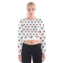 Sage Apple Wrap Smile Face Fruit Cropped Sweatshirt by Mariart