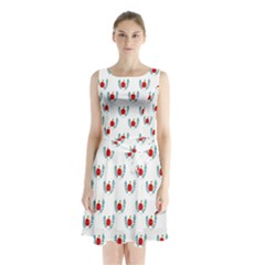Sage Apple Wrap Smile Face Fruit Sleeveless Waist Tie Chiffon Dress by Mariart