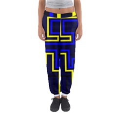 Tron Light Walls Arcade Style Line Yellow Blue Women s Jogger Sweatpants by Mariart
