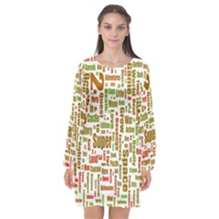 Screen Source Serif Text Long Sleeve Chiffon Shift Dress  by Mariart