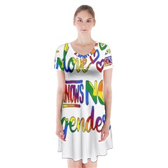 Love Knows No Gender Short Sleeve V-neck Flare Dress by Valentinaart
