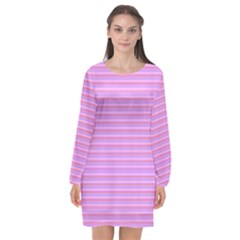 Lines Pattern Long Sleeve Chiffon Shift Dress  by Valentinaart