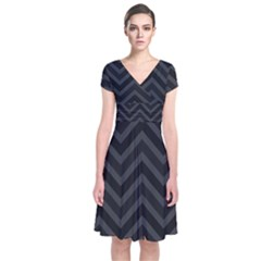 Zigzag  Pattern Short Sleeve Front Wrap Dress by Valentinaart