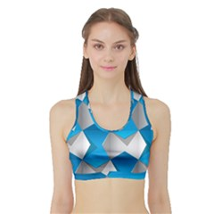 Blue White Grey Chevron Sports Bra With Border by Mariart