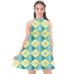 Yellow Blue Diamond Chevron Wave Halter Neckline Chiffon Dress  by Mariart