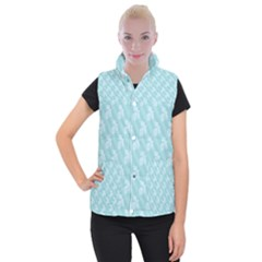 Christmas Day Ribbon Blue Women s Button Up Puffer Vest