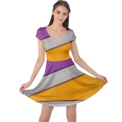 Colorful Geometry Shapes Line Green Grey Pirple Yellow Blue Cap Sleeve Dresses