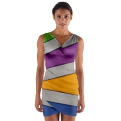 Colorful Geometry Shapes Line Green Grey Pirple Yellow Blue Wrap Front Bodycon Dress by Mariart