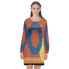 Digital Music Is Described Sound Waves Long Sleeve Chiffon Shift Dress  by Mariart
