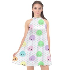 Egg Easter Smile Face Cute Babby Kids Dot Polka Rainbow Halter Neckline Chiffon Dress