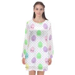 Egg Easter Smile Face Cute Babby Kids Dot Polka Rainbow Long Sleeve Chiffon Shift Dress  by Mariart