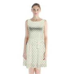 Dots Sleeveless Waist Tie Chiffon Dress by Valentinaart