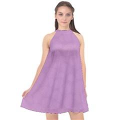 Floral Pattern Halter Neckline Chiffon Dress