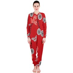 Dandelions Red Butterfly Flower Floral Onepiece Jumpsuit (ladies)  by Mariart