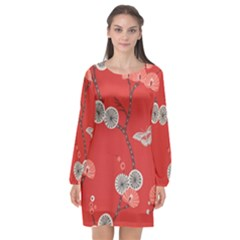 Dandelions Red Butterfly Flower Floral Long Sleeve Chiffon Shift Dress  by Mariart