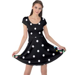 Flower Frame Floral Polkadot White Black Cap Sleeve Dresses