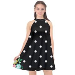 Flower Frame Floral Polkadot White Black Halter Neckline Chiffon Dress