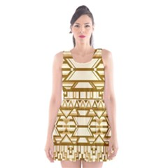Geometric Seamless Aztec Gold Scoop Neck Skater Dress by Mariart