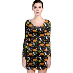 Ghost Pumkin Craft Halloween Hearts Long Sleeve Bodycon Dress