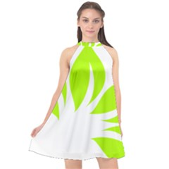 Leaf Green White Halter Neckline Chiffon Dress