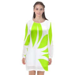 Leaf Green White Long Sleeve Chiffon Shift Dress  by Mariart