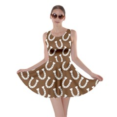 Horse Shoes Iron White Brown Skater Dress by Mariart