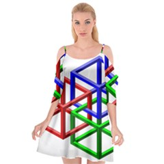 Impossible Cubes Red Green Blue Cutout Spaghetti Strap Chiffon Dress by Mariart