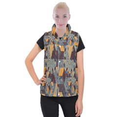 Apophysis Isometric Tessellation Orange Cube Fractal Triangle Women s Button Up Puffer Vest