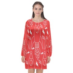 Moon Red Rocket Space Long Sleeve Chiffon Shift Dress  by Mariart