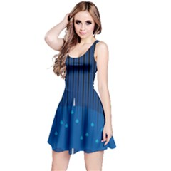 Rain Blue Sky Water Black Line Reversible Sleeveless Dress