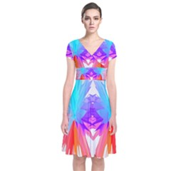 Poly Symmetry Spot Paint Rainbow Short Sleeve Front Wrap Dress by Mariart