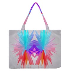 Poly Symmetry Spot Paint Rainbow Medium Zipper Tote Bag