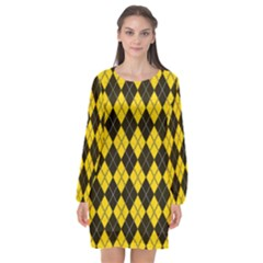 Plaid Pattern Long Sleeve Chiffon Shift Dress  by Valentinaart