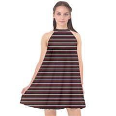 Lines Pattern Halter Neckline Chiffon Dress  by Valentinaart