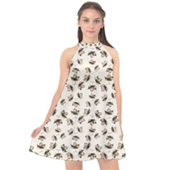 Autumn Leaves Motif Pattern Halter Neckline Chiffon Dress  by dflcprintsclothing