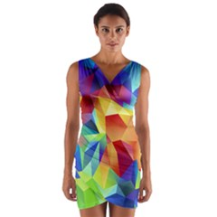 Triangles Space Rainbow Color Wrap Front Bodycon Dress by Mariart