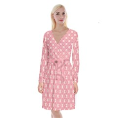 Sunflower Star White Pink Chevron Wave Polka Long Sleeve Velvet Front Wrap Dress by Mariart