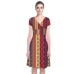 Tribal Grace Colorful Short Sleeve Front Wrap Dress by Mariart