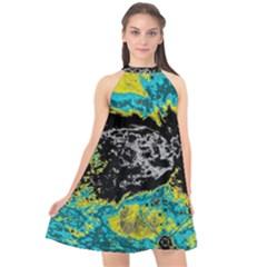 Abstraction Halter Neckline Chiffon Dress  by Valentinaart