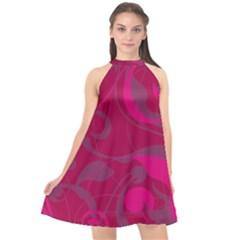 Floral Pattern Halter Neckline Chiffon Dress  by Valentinaart