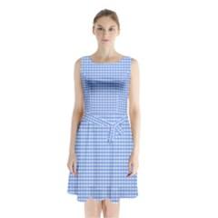 Color Sleeveless Waist Tie Chiffon Dress by Valentinaart