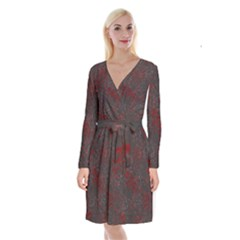 Abstraction Long Sleeve Velvet Front Wrap Dress by Valentinaart