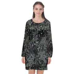 Abstraction Long Sleeve Chiffon Shift Dress