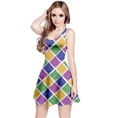 African Illutrations Plaid Color Rainbow Blue Green Yellow Purple White Line Chevron Wave Polkadot Reversible Sleeveless Dress by Mariart