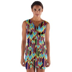 Building City Plaid Chevron Wave Blue Green Wrap Front Bodycon Dress by Mariart