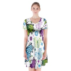 Butterfly Animals Fly Purple Green Blue Polkadot Flower Floral Star Short Sleeve V Neck Flare Dress by Mariart