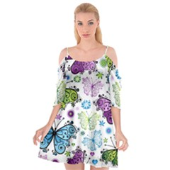 Butterfly Animals Fly Purple Green Blue Polkadot Flower Floral Star Cutout Spaghetti Strap Chiffon Dress by Mariart