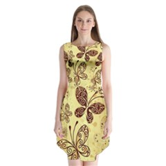 Butterfly Animals Fly Purple Gold Polkadot Flower Floral Star Sunflower Sleeveless Chiffon Dress   by Mariart